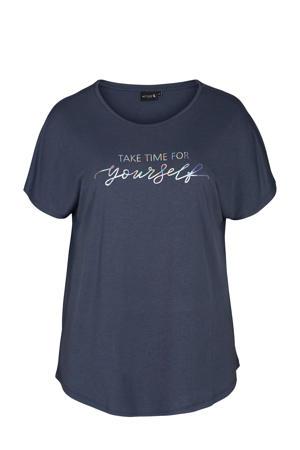 Plus Size sport T-shirt donkerblauw