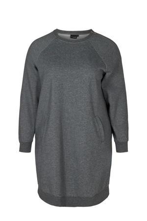 Plus Size sportsweater donkergrijs melange
