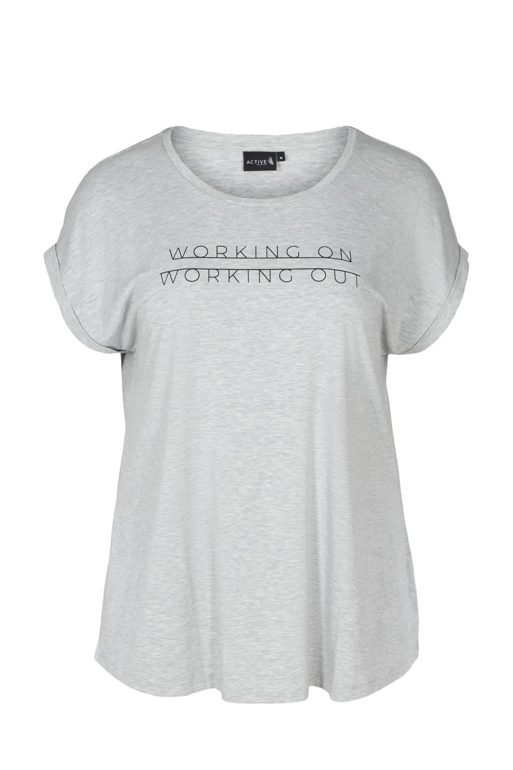 ACTIVE By Zizzi Plus Size sport T-shirt lichtgrijs melange, Lichtgrijs melange