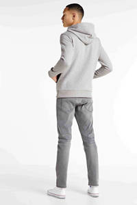 JACK & JONES ORIGINALS hoodie met logo grijs melange, Grijs melange