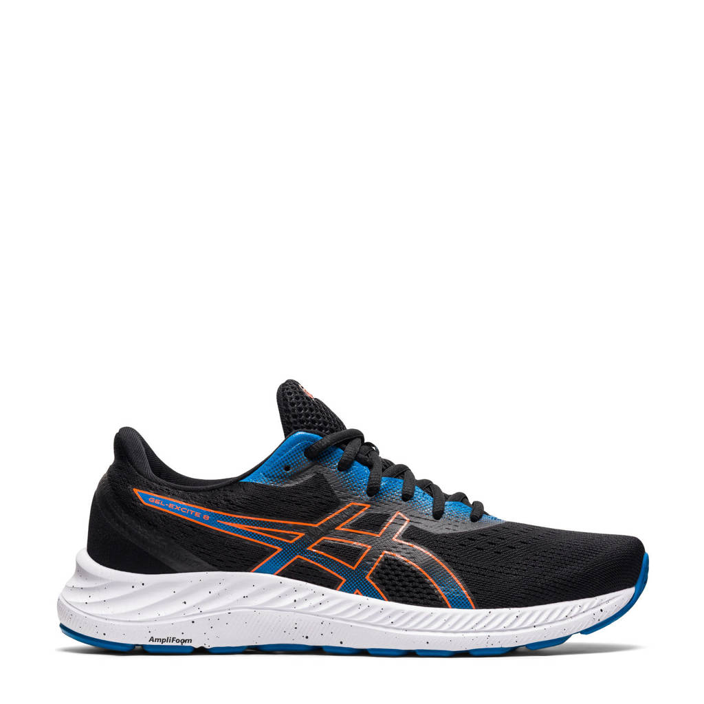ASICS Gel-Excite 8 hardloopschoenen zwart/oranje/blauw, Zwart/oranje/blauw