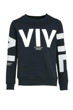 sweater Devival met tekst zwart