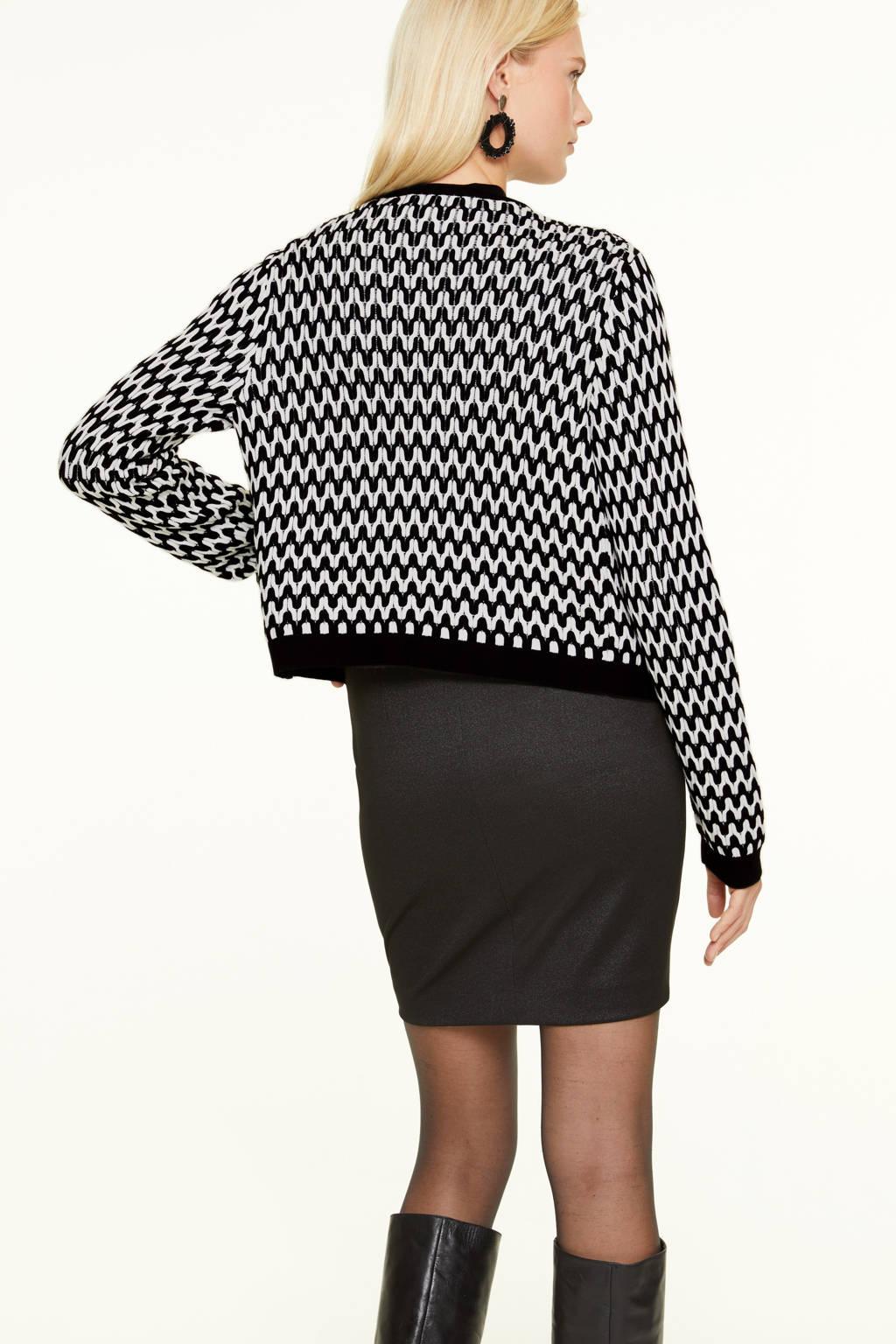 comma gebreid vest met all over print zwart/wit, Zwart/wit