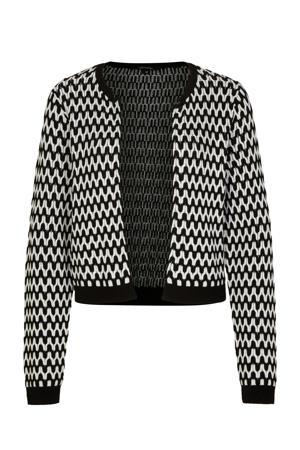gebreid vest met all over print zwart/wit