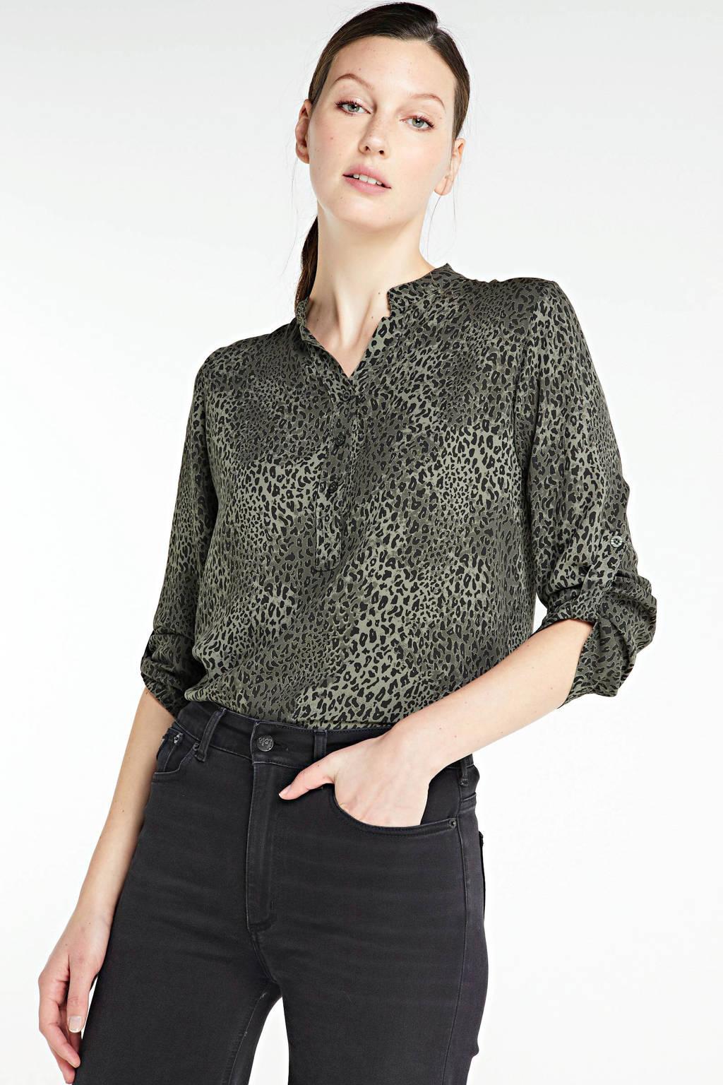 Zabaione blouse met all over print groen, Groen