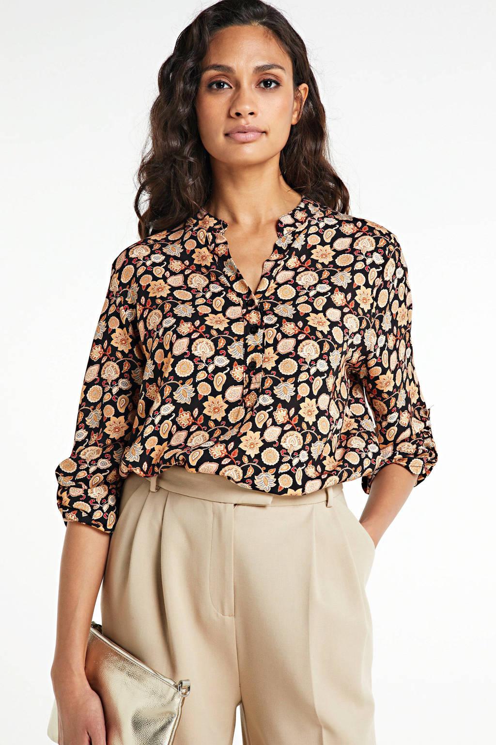 Zabaione blouse met all over print geel, Geel