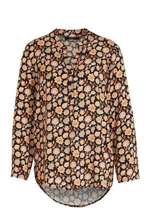 blouse met all over print geel