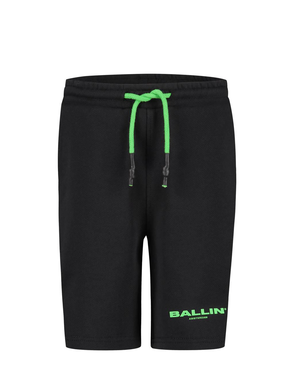 Ballin skinny sweatshort met logo zwart, Zwart