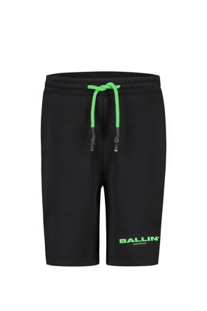 skinny sweatshort met logo zwart