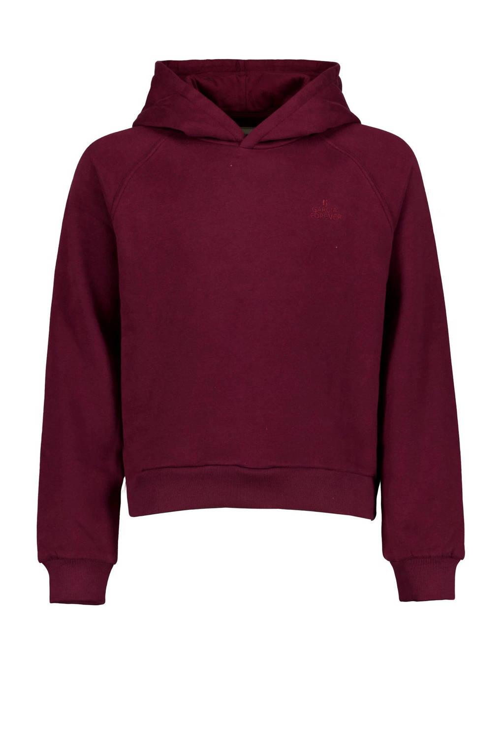 Garcia hoodie met borduursels donkerrood, Donkerrood