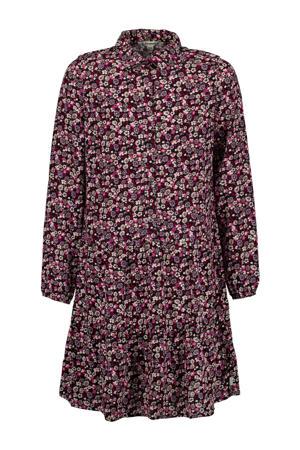 gebloemde blousejurk zwart/roze