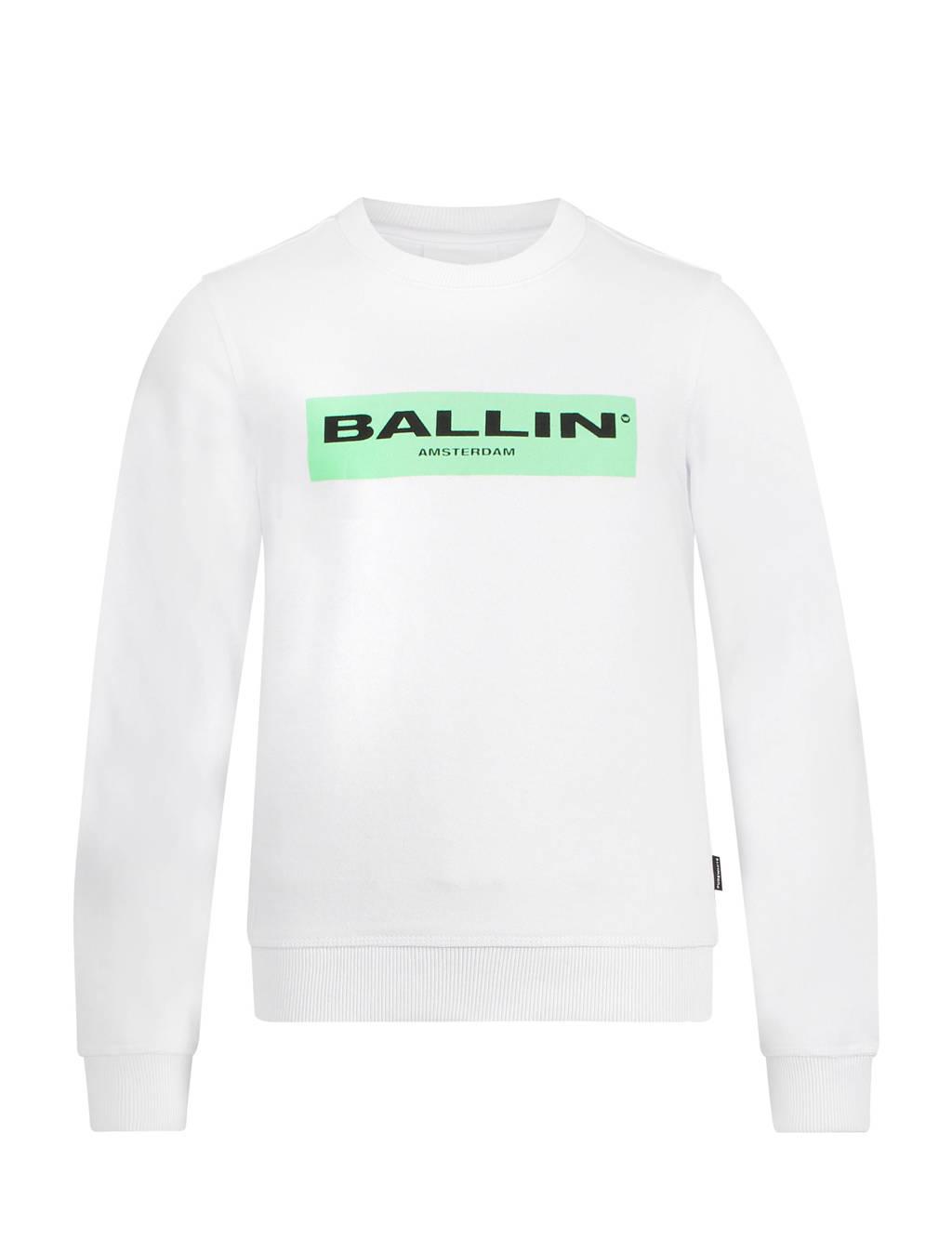 Ballin unisex sweater met logo wit, Wit