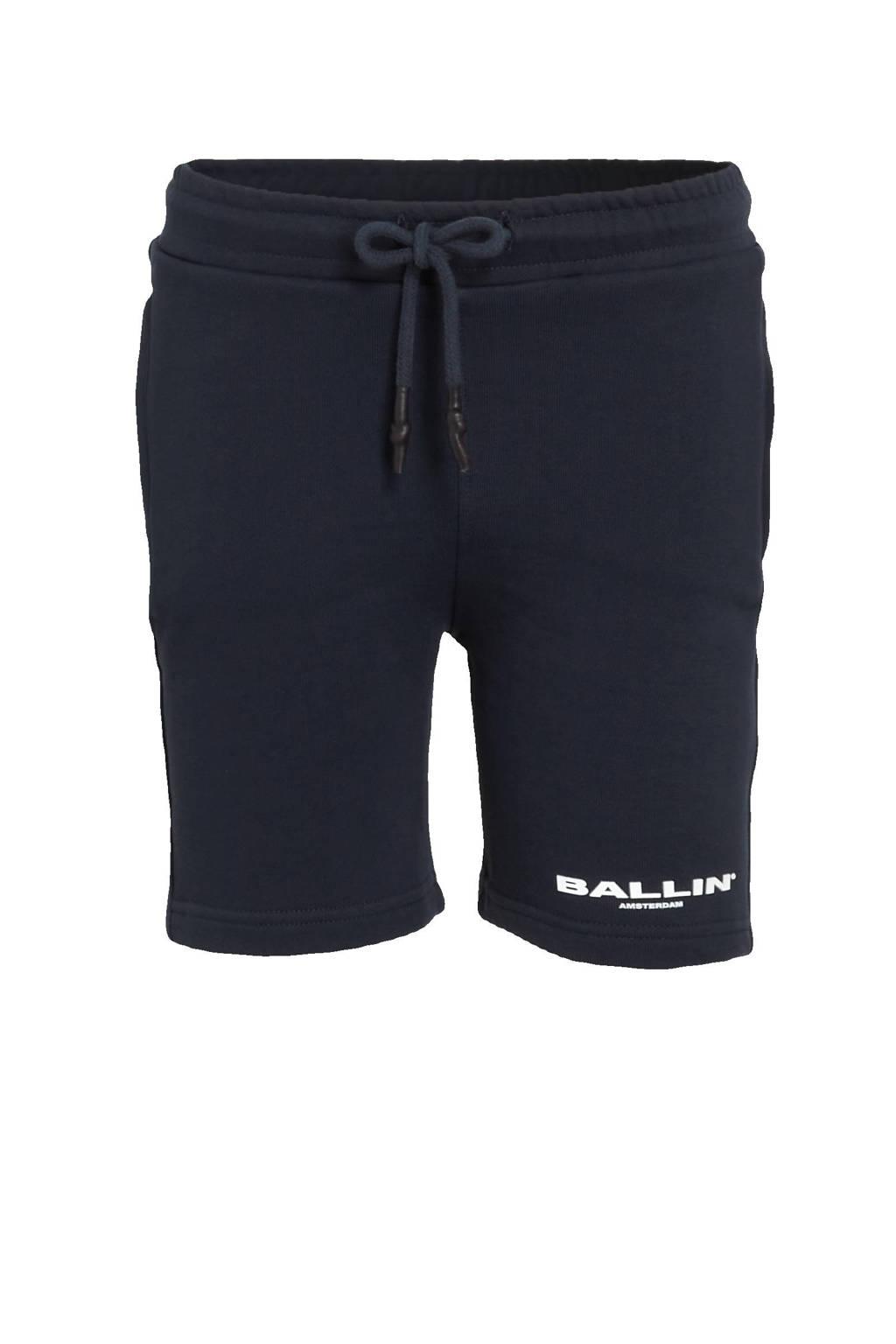 Ballin skinny sweatshort met logo donkerblauw, Donkerblauw