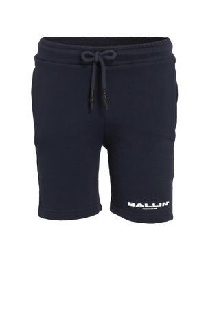 skinny sweatshort met logo donkerblauw