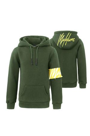 hoodie donkergroen/geel