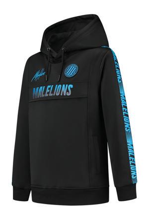 hoodie met logo zwart/blauw