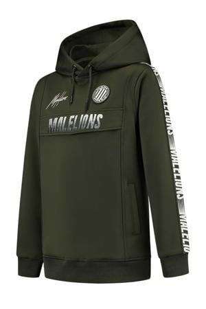 hoodie met contrastbies army groen/wit