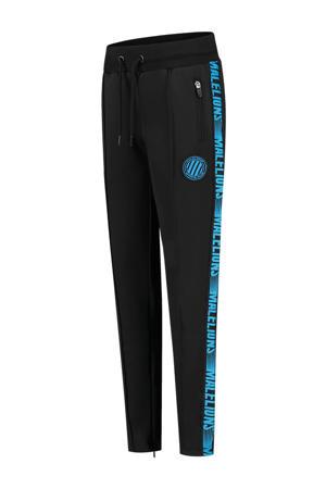 unisex skinny joggingbroek met zijstreep zwart/blauw