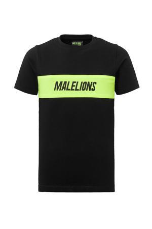 T-shirt zwart/neon geel