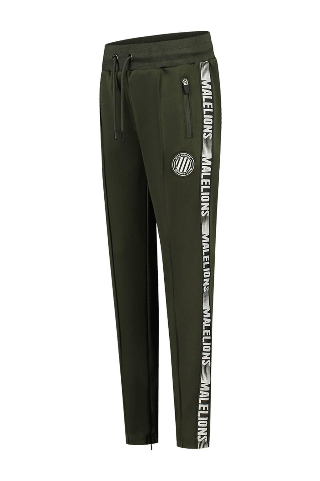 Malelions skinny joggingbroek met zijstreep army groen/wit, Army groen/wit