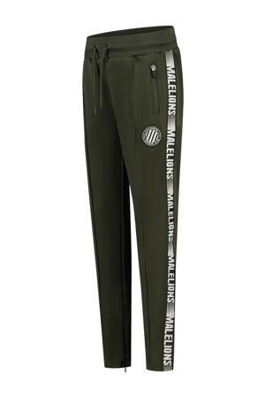 unisex skinny joggingbroek met zijstreep army groen/wit