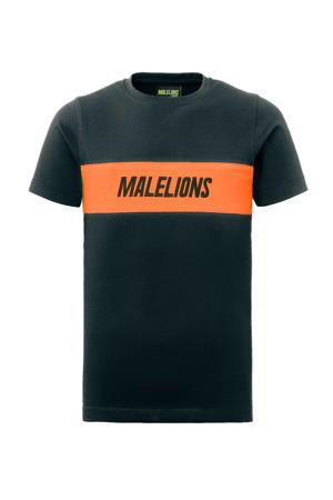 T-shirt antraciet/oranje