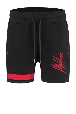 skinny sweatshort met logo zwart/rood