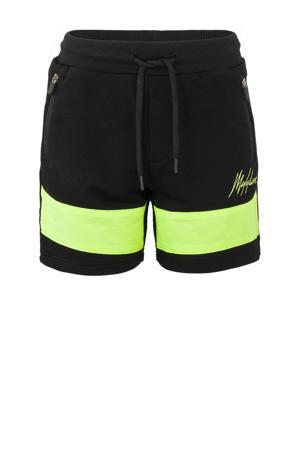 sweatshort zwart/neon geel
