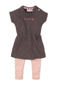 Dirkje jurk + legging antraciet/lichtroze, Antraciet/lichtroze