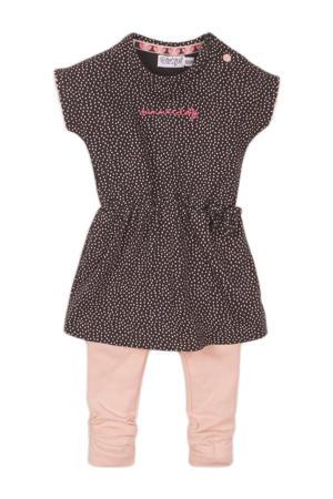 jurk + legging antraciet/lichtroze