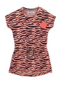Dirkje jurk met zebraprint roze/blauw, Roze/blauw