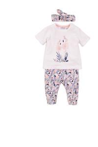 Dirkje T-shirt + broek en haarband wit/lichtroze/paars, Wit/lichtroze/paars