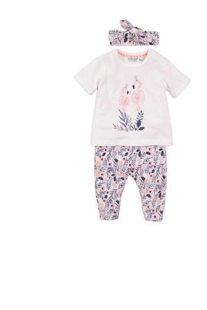 T-shirt + broek en haarband wit/lichtroze/paars