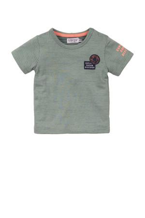 gestreept T-shirt grijsgroen