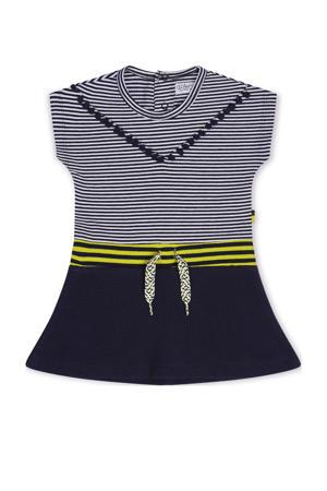 gestreepte jurk blauw/wit/geel