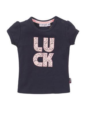 T-shirt met tekst en plooien donkerblauw/roze