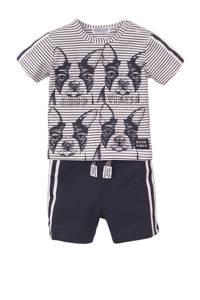 Dirkje T-shirt + korte broek wit/donkerblauw, Donkerblauw/wit