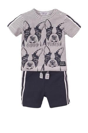 T-shirt + korte broek wit/donkerblauw