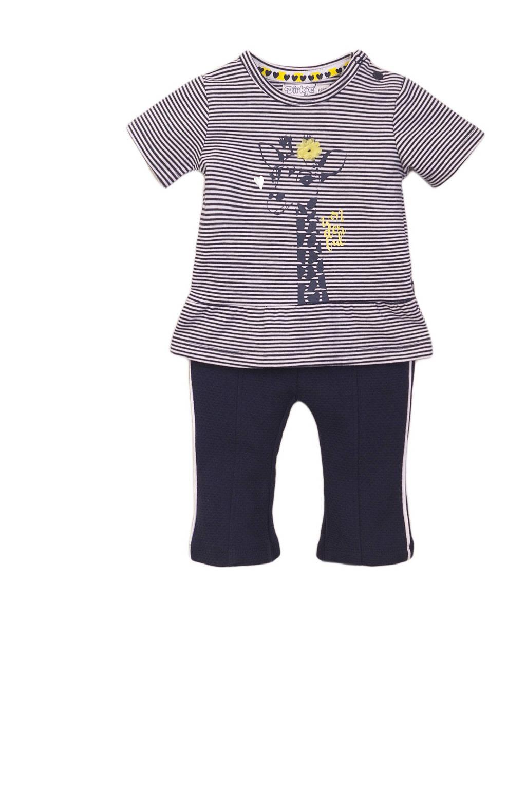 Dirkje newborn baby T-shirt + broek wit/geel/donkerblauw, Donkerblauw/geel/wit