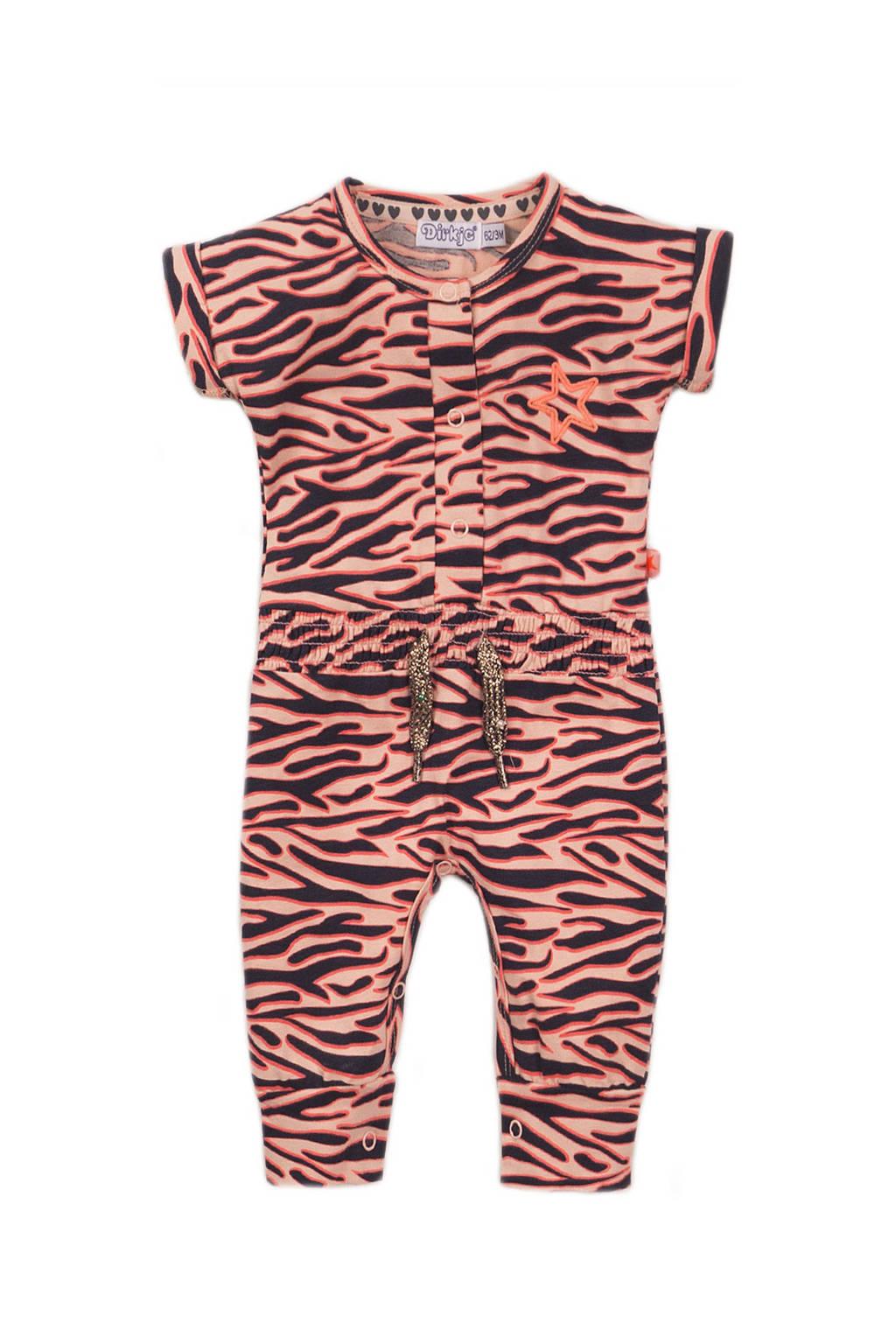 Dirkje jumpsuit met zebraprint oranje/zwart, Oranje/zwart