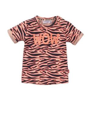 T-shirt met zebraprint zalm