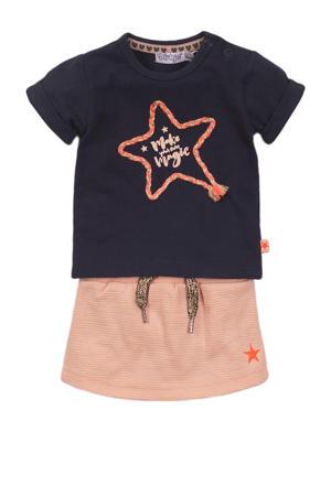 T-shirt + rok donkerblauw/zalm