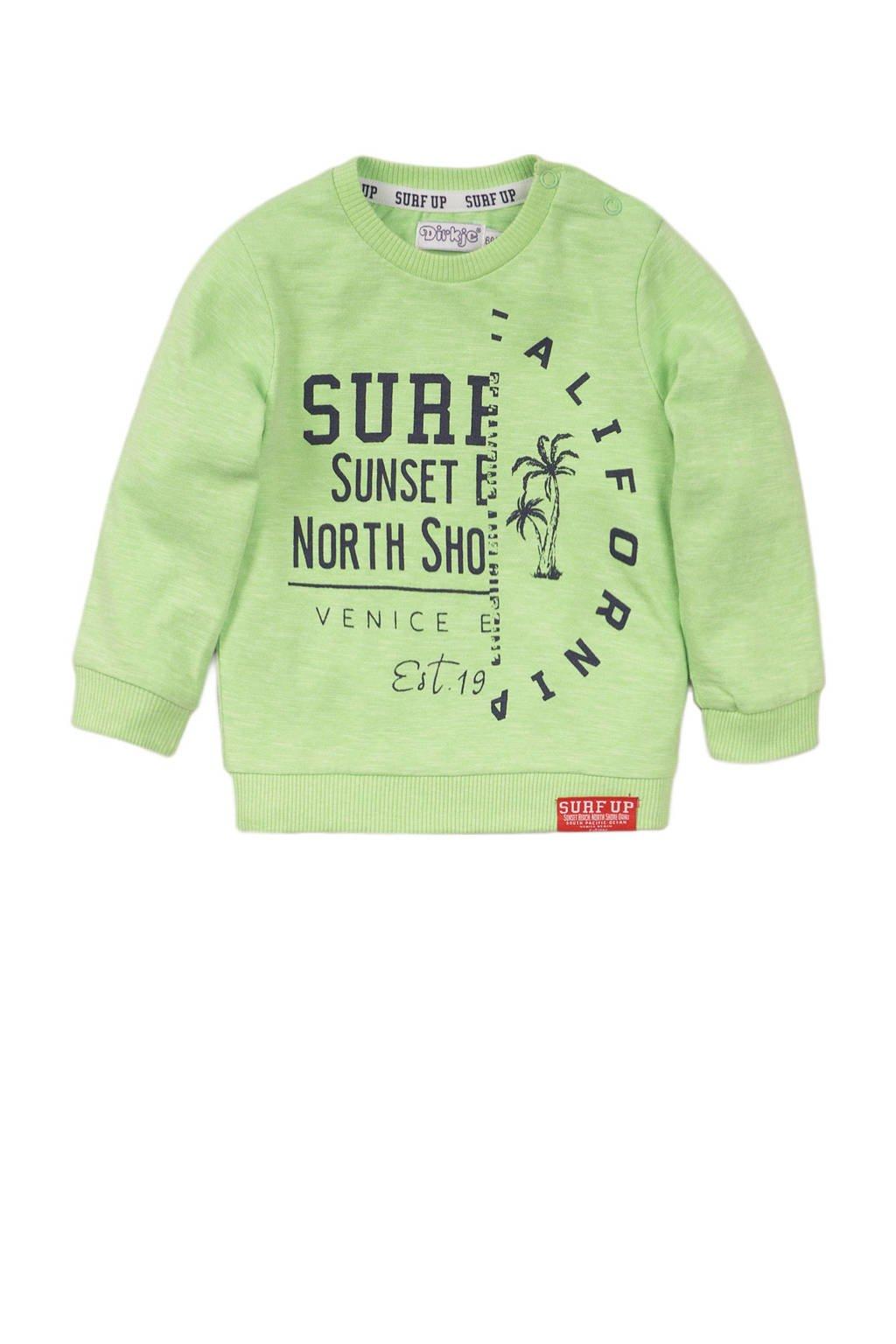 Dirkje sweater met tekst limegroen, Limegroen