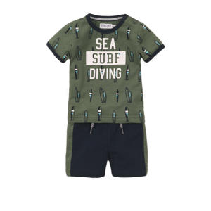 newborn baby T-shirt + short army groen/wit/zwart