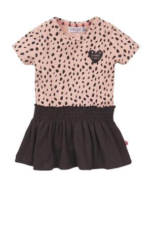 jurk met stippen roze/antraciet