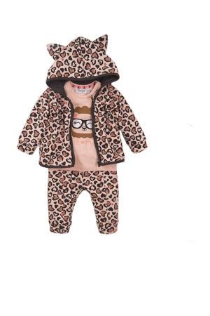 newborn baby vest + T-shirt + broek lichtroze/zwart/bruin