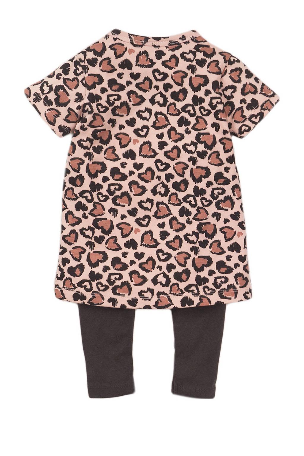 Dirkje jurk + legging oudroze/antraciet, Oudroze/antraciet