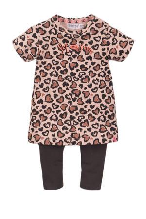 jurk + legging oudroze/antraciet