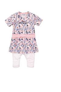 Dirkje baby jurk + legging met all over print en borduursels wit/lichtroze/paars, Wit/lichtroze/paars