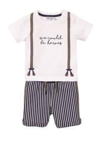 Dirkje newborn baby T-shirt + korte broek wit/blauw, Donkerblauw/wit